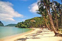 Marimegmeg Beach or Las Cabanas Beach El Nido Palawan island the Philippines