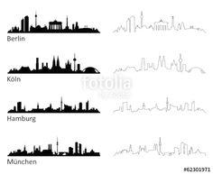 """Laden Sie den lizenzfreien Vektor """"Skyline Berlin Köln Hamburg München"""" von JiSign zum günstigen Preis auf Fotolia.com herunter. Stöbern Sie in unserer Bilddatenbank und finden Sie schnell das perfekte Stockbild für Ihr Marketing-Projekt!"""