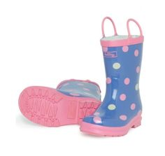 Hatley Butterfly Dots Wellies £14.99 from Wellies and Worms. Pink and white polka dot print on purple background with pink edging and handles.