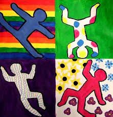 art history lesson idea for kids Keith Haring Figure Paintings Art 2nd Grade, Club D'art, Square 1 Art, Keith Haring Art, Artist Project, Ecole Art, Art Lessons Elementary, Mondrian, Art Plastique
