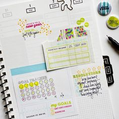 Track your goals in the #gettoworkbook with #kellypurkey stamps!