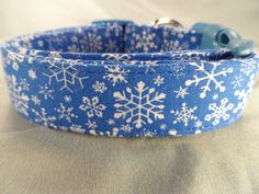 Blue Snowflakes Winter Dog Collar by RescueMeCollars on Etsy