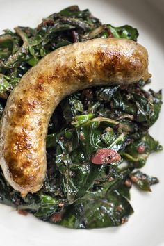 This quick sausage dish is perfect for spring The dark green chard adds freshness, while the rhubarb lends a citrus-like sour note that cuts through the richness of the sausages If you don't have any mustard seeds on hand, leave them out