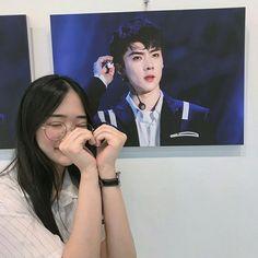 Me as sehun fangirl💕😌 Korean Couple, Korean Girl, Asian Girl, Ulzzang Couple, Ulzzang Girl, Kpop Aesthetic, Aesthetic Girl, Exo Merch, Exo Fan