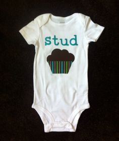 Stud Muffin Appliqued Onesie, a unique and funny shirt for your baby boy. $17.00, via Etsy.