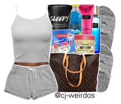 """""""Sleepover W/ The Girls"""" by cj-weirdos ❤ liked on Polyvore featuring Victoria's Secret and Louis Vuitton"""
