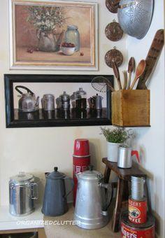 Coffee themed kitchen vignette