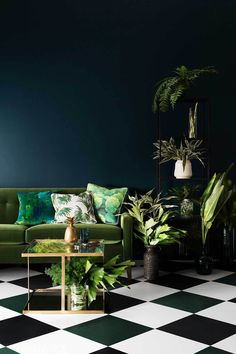Dramatic floor against richly coloured walls, emerald green cushions