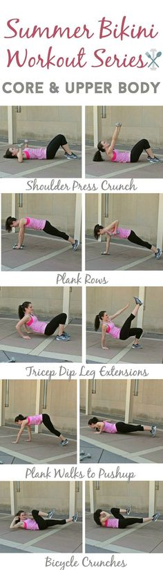 The fourth and final workout in this summer bikini workout series. Combine abs and upper body for an amazing workout for summer!