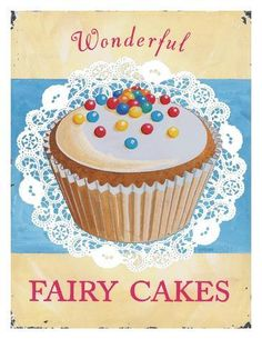 size: Art Print: Wonderful Fairy Cakes Art Print by Martin Wiscombe by Martin Wiscombe : Artists Fondant Cupcake Toppers, Cupcake Art, Fondant Cakes, Cupcake Cakes, Vintage Cupcake, Rose Cupcake, Chocolates, Fluffy Icing, Cupcake Illustration