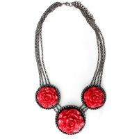 """Make a statement that is unmistakably bold and beautiful  - wear """"The Roses"""" necklace.  Rich red roses are smartly set in a bead textured setting with Hematite plating that gives an a stunning contrast of gorgeous color. $118"""