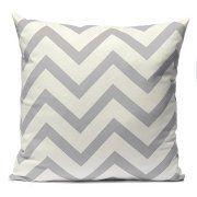 18''X18'' Stripe Zig Zag Pillowcase, Cotton Square Shaped Decorative Pillowslip ,Pillow Cover Case for Sofa in Patio Garden Home,Grey color