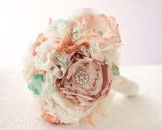 Fabric Flower Wedding Bouquet,  pearl rhinestone brooches, vintage style ivory, dusty pink, terra cotta, sea foam, sand, beach wedding