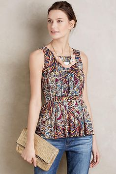Corbara Peplum Tank - even though it's a crew neck the silhoute is amazing and would look great with your white, light, and dark wash jeans with your white, tan and navy wedges this summer