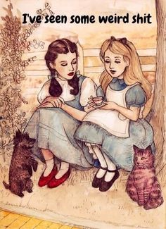 Alice in Wonderland Sits and Chats With Dorothy from the Wizard of Oz - haha pretty funny - ME TOO - lol! Helen Green, Chesire Cat, Humor Grafico, Lewis Carroll, Illustrations, Funny Illustration, Pics Art, Wizard Of Oz, Fairy Tales