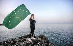 Circassian woman waving Circassian flag on May 21 Mayıs'ta Çerkes bayrağı tutan Çerkes kadını May, Freedom, Waves, Liberty, Political Freedom, Wave, Beach Waves