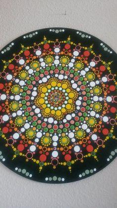 Dot mandala on vinyl record