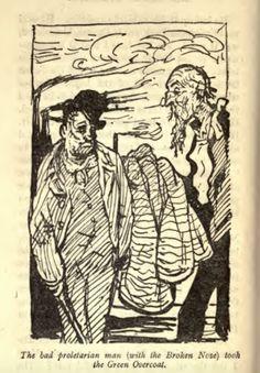 "G. K.Chesterton's illustrations for ""The Green Overcoat"" by Hilaire Belloc"