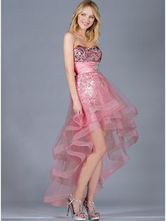 Watermelon Sequin and Mesh High Low Prom Dress. Style #: JC060. Get yours at sungboutiquela.com!
