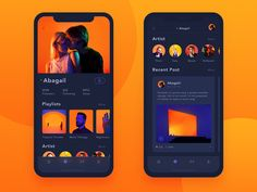 Orange Storm:Music App Friend's Profile-Night Mode Ios App Design, Mobile Ui Design, Interface Design, User Interface, Night Mode App, Conception D'applications, Ios Ui, Sports App, Mobile App Ui