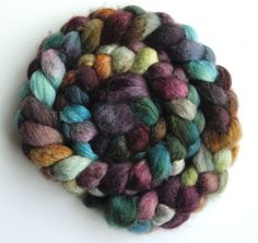 """Silk/ BFL Roving (Top) - Handpainted Spinning or Felting Fiber, """"Couture"""""""