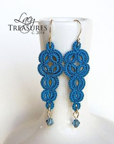 Handmade LACE Dangle Earrings- Unique Art Statement Jewelry- Turquoise Blue Multi Color- Gift Anniversary Wife Mother Grandmother Birthday - Women's style: Patterns of sustainability Tatting Earrings, Tatting Jewelry, Lace Earrings, Lace Jewelry, Dangle Earrings, Teardrop Earrings, Silver Earrings, Needle Tatting, Tatting Lace