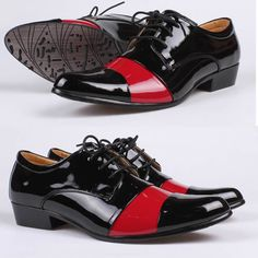 Black Red Patent Leather Lace Up Dress Wedding Prom Oxford Shoes Men SKU-1100157