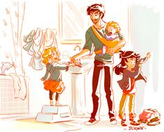 Headcanon that Percabeth had two daughters named Bianca and Silena, and a son named Luke. Percy Jackson Fan Art, Percy Jackson Fandom, Percy Jackson Books, Solangelo, Percabeth, Percy And Annabeth, Annabeth Chase, Jackson's Art, Rick Y