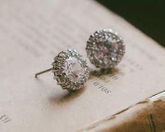 Pave Set Crystal Stud Earrings, Alanna