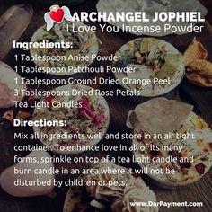Archangel Jophiel I Love You Incense Powder. Essential Oil Diffuser Blends, Essential Oil Uses, Reiki, Chakras, Archangel Jophiel, Dried Orange Peel, Herbal Magic, Kitchen Witch, Tea Light Candles