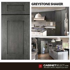 Buy Greystone Shaker Kitchen Cabinets - RTA Cabinets by CabinetSelect White Kitchen Cart, Black Kitchen Island, Galley Style Kitchen, Shaker Style Kitchens, Red Cabinets, Shaker Kitchen Cabinets, Kitchen Cabinet Styles, Kitchen Images, Trends