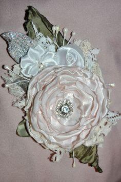 pink white silver CORSAGE dress pin flower brooch 12 cm bride formal vintage m