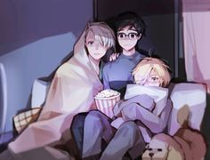 Yuri!!! On Ice (ユーリ!!! On ICE) - Yuri Katsuki, Viktor Nikiforov, Yuri Plisetsky - watching a horror movie (^-^;