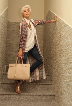 Ascia AKF - this looks really chic. like the turban & long cardigan on top.