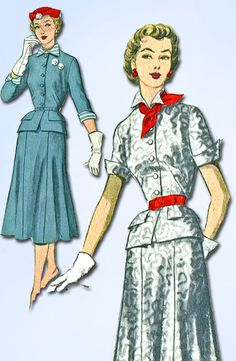 Advance Pattern 6004 Misses Two Piece Dress or Suit Pattern New York Times American Designer By Nell Quinlan Reed aka Nelly Don Dated 1952 Factory Folded and Unused Nice Condition Overall Size 16 (34""
