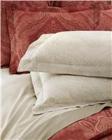 Miretta by SFERRA,sateen duvet cover and pillow shams in cayenne or in parchment