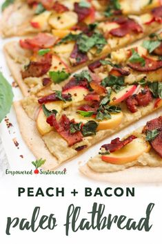 This paleo flatbread features a cassava flour crust, creamy cashew topping, and the salty-sweet combo of peaches and bacon.I'm going to use real cheese. Gluten Free Grains, Gluten Free Recipes, Dairy Free, Grain Free, Entree Recipes, Side Dish Recipes, Pizza Recipes, Pork Recipes, Real Food Recipes