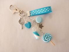 ** Blue Turquoise Key Fob Made With With Clay Charm Accessories Cute Polymer Clay, Cute Clay, Polymer Clay Miniatures, Fimo Clay, Polymer Clay Projects, Polymer Clay Charms, Clay Beads, Polymer Clay Jewelry, Clay Crafts