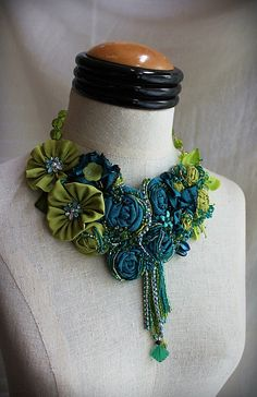 MIDORI Teal Green Beaded Textile Statement Necklace