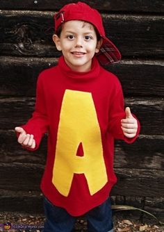 Alvin the Chipmunk - Halloween Costume Contest at Costume- Alvin the Chipmunk - Homemade costumes for boys Book Costumes, Book Week Costume, Diy Costumes, Costume Ideas, Zombie Costumes, Family Costumes, Group Costumes, Homemade Halloween Costumes, Halloween Costume Contest