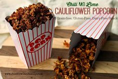 Chili Lime Cauliflower Popcorn {a grain free, gluten free, dairy free, raw snack made in the dehydrator} Raw Food Recipes, Mexican Food Recipes, Low Carb Recipes, Cooking Recipes, Jar Recipes, Popcorn Recipes, Freezer Recipes, Freezer Cooking, Drink Recipes