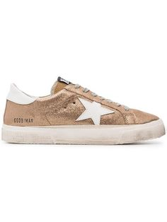 0dcec6c2755 Golden Goose Deluxe Brand Rose Gold Glitter May Leather Sneakers - Farfetch