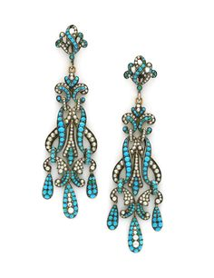 A Pair of Antique Turquoise and Seed Pearl Pendant Earrings, circa 18th century.