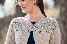Zephirine Cardigan designed by Angela Hahn - Media - Knitting Daily..... A wide and wavy lace in a papery nettle blend creates the Zephirine Cardigan. Gently rolling edges, an A-line shape, and front edges that fall away create an easy grace that emphasizes the beauty of the yoke.