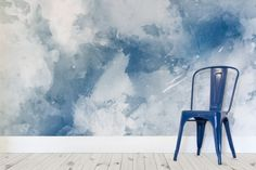 Blue and White Grunge Paint Watercolour Wallpaper