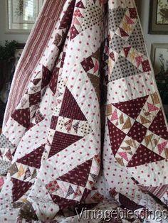 "Classic Antique CIVIL WAR ERA Wild Goose Chase QUILT 88x79"" Great Fabrics Galore www.Vintageblessings.com"