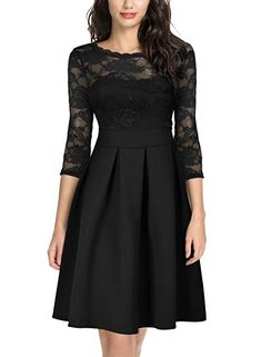eb301bd0d8 Miusol Women s Vintage Floral Lace 2 3 Sleeve Cocktail Party Dress