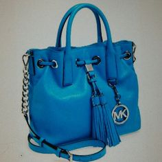 "MICHAEL KORS Camden Medium Leather Bag Bright summer blue leather drawstring satchel. Shoulder tote, shoulder strap 20"", handles 3"", beautiful details. MICHAEL Michael Kors Bags Satchels"