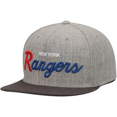 size 40 5ed5d 4c1c6 New York Rangers Mitchell   Ness Tri-Pop Special Script Adjustable Snapback  Hat - Gray Charcoal
