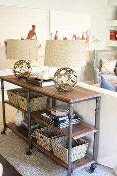 love just a touch of industrial....sofa table for living room (plus I already have these lamps!)